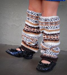 upcycled leg warmers from old sweaters....one for me, one for the princess -- LOVE