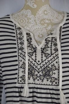 Style & Co Womens Medium Black White Striped BOHO Embroidered NEW Shirt #Styleco #KnitTop #Casual