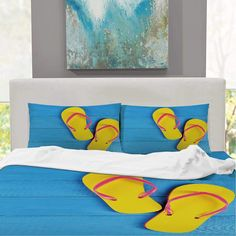 CUDEVS Yellow and Blue,King Size Sheet Flip Flops on Wooden Pier Cheerful Holiday Travel Relax Colorful for Sheets Singe King Size Bed Sheets, Holiday Travel, Yellow, Blue, Cheer, Flip Flops, Relax, Tapestry, Colorful