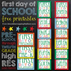 First Day of School Free Printables: Preschool through Twelfth Grade High Res Prints {Perfect for your kiddo's first day photos} school sign, school photos, friends with kids, school free, first day of school printable, school stuff, free printabl, preschool, back to school
