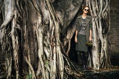 Ahhh, a tree with amazing root action is a fabulous place to take shelter – our Weather Coat in olive works a treat over our new season Pencil Skirt. Tone on tone, it's all good. Good Day Girl Made to order collection launching Feb 2015 - made for you, made in Australia. www.gooddaygirl.com.au