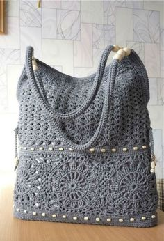 Made to order gray handmade crochet handbag summer cotton boho crochet purse knit crochet bags an half moon bag crochet pattern by make e Bead Crochet, Crochet Shawl, Crochet Stitches, Free Crochet, Crochet Patterns, Knitting Patterns, Cotton Crochet, Crochet Summer, Crochet Handbags