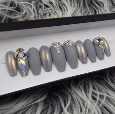 Matte Gray Fairy Dust and Swarovski Press On Nails  Nail Art