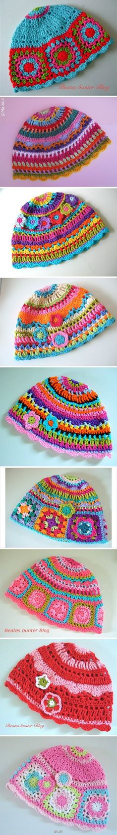 crochet hats...love the bright colors and mixed design