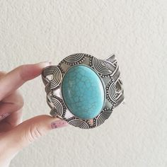 Large Statement Bracelet Cuff Teal Stone Boho TEMP PRICE was $20! Large teal stone statement cuff bracelet. Bought this ages ago at a local boutique. Cuff is slightly adjustable. Previously owned in good condition. Slight scuffs on the back but not noticeable. Jewelry Bracelets