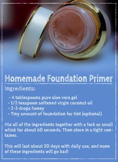 Use Coconut Oil Daily - - Homemade foundation primer (face primer) recipe.: 9 Reasons to Use Coconut Oil Daily Coconut Oil Will Set You Free — and Improve Your Health!Coconut Oil Fuels Your Metabolism! Homemade Skin Care, Homemade Beauty Products, Diy Skin Care, Homemade Primer, Diy Make Up Primer, Diy Face Primer, Homemade Make Up, Makeup Products, Natural Beauty Products