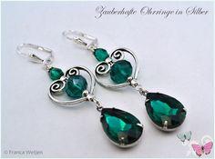 Ohrhänger - Vintage Ohrhänger Herz lang Silber Smaragd Grün - ein Designerstück von Zauberhafte-Ohrringe-in-Silber bei DaWanda