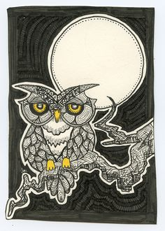 'Owl and Moon' by R. Moses