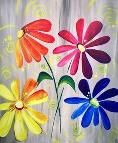Check out ColorFULL Daisy Delight at Bingemans Boston Pizza/Kingpin Bowlounge - Paint Nite Fabric Painting, Painting & Drawing, Watercolor Paintings, Simple Acrylic Paintings, Easy Paintings, Diy Canvas, Canvas Art, Acrylic Canvas, Fence Art