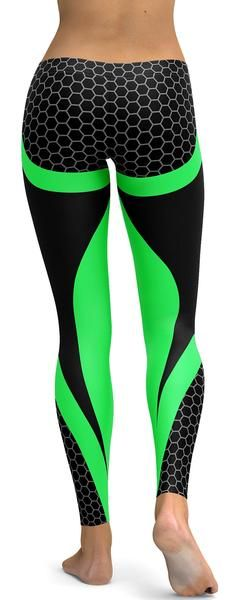 Green Honeycomb Carbon Leggings