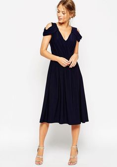 Drape Shoulder Mid-Length Bridesmaid Dress. Long & Short Bridesmaid dresses (and jumpsuits) in colors perfect for any fall/winter wedding (and even all year round).