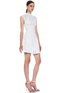 leather/lace/chains clothing | Lover|Valentine Lace Knit Mini Dress in White [3]