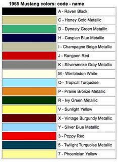 1965 mustang paint colors by data plate code