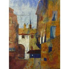 Original cityscape painting watercolor batik on Japanese rice paper... ($180) ❤ liked on Polyvore featuring home, home decor, wall art, batik wall art, framed paintings, cityscape wall art, unframed wall art and cityscape paintings