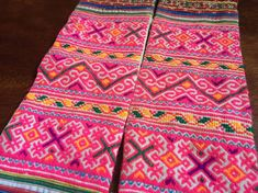 PAIR - VINTAGE Hmong Textile  -  Embroidery Hmong Tapestry  - Cross Stitches - Yarn Tassels - DIY Project - Wall Hanging - Craft Supplies