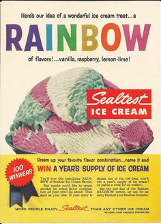 Rainbow Sealtest Ice Cream 1959 Vintage Ad