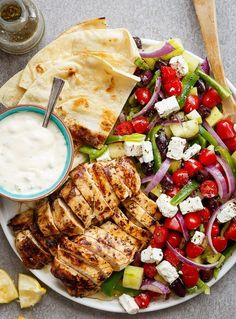 Greek Lemon Garlic Chicken Salad with an incredible dressing that doubles as a marinade! Complete with Tzatziki and homemade flatbreads, it's a winner! dinner for picky eaters Greek Lemon Garlic Chicken Salad Lemon Garlic Chicken, Greek Lemon Chicken, Clean Eating, Healthy Eating, Cooking Recipes, Healthy Recipes, Healthy Meals, Fast Recipes, Healthy Food