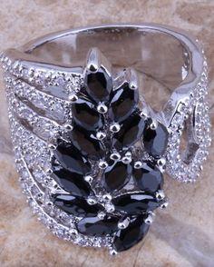 Unique Black Sapphire White Topaz 925 Sterling Silver Ring