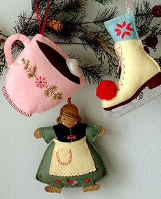 Ice Skating Afternoon Ornament Pattern: I am so excited to offer this, my first collection of ornament patterns designed to help you create three hand-stitched, hand-embroidered felt ornaments: a Hot Cocoa Cup, an Ice Skate, and a Gingerbread Girl. Felt Christmas Ornaments, Christmas Crafts, Christmas Sewing, Handmade Ornaments, Homemade Christmas, Xmas, Ornament Pattern, Sewing Projects For Beginners, Sewing Patterns Free