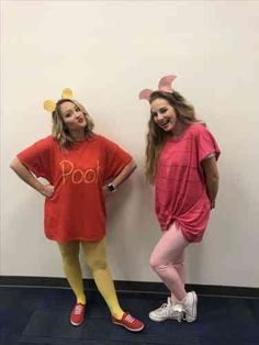 Need ideas for coordinating matching costumes with your best friend this Halloween? We've collected 30 of our favorite best friend Halloween costume ideas that are perfect for your next spooky Halloween party this October. Piglet Halloween Costume, Piglet Costume, Matching Halloween Costumes, Best Friend Halloween Costumes, Trendy Halloween, Halloween Costumes For Teens, Disney Costumes, Halloween Halloween, Winnie The Pooh Costume