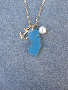 Blue New Jersey Sea Glass Style Gold Anchor and Pearl by CABANA109, $45.00