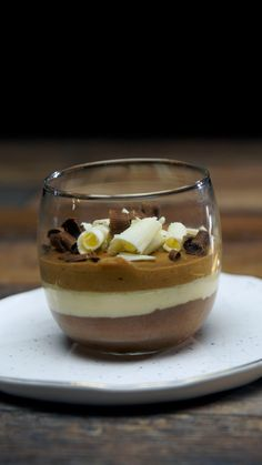 Start the year off right with this delightful combination of white, milk and dark chocolate mousse.