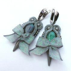 Soutache earrings with labradorite Gray Melody stud by Lolissa