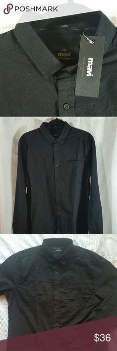 Mavi Jeans Men's Ultra Soft Shirt NWT Mavi Men's shirt. Super soft cotton material, black with blue specks. Front features an understated pocket on the left. Mavi Shirts Casual Button Down Shirts