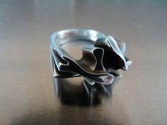 Georg Jensen, Anton Mikkelsen, Danish designer, sterling silver, vintage, modernist ring 1970s