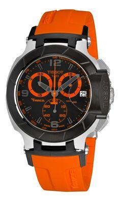 Tissot Men's T0484172705704 T-Race Quartz Orange Strap Chronograph Dial Watch