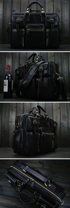 "Men's Cowhide Leather Briefcase Messenger 15"" Macbook Laptop Bag"