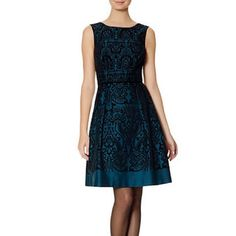 """The Limited Baroque Fit & Flare Dress Make a grand entrance in opulent baroque curves! The deep-V back adds a touch of striking elegance to a sweetly feminine silhouette. Substantial woven with velvet flocked baroque pattern Velvet piped waist Deep-V back, invisible back zipper with hook and eye closure Pleated A-line skirt Fully lined Measures approximately 38"""" from shoulder to bottom hem 98% Cotton/2% Spandex; Lining: 100% Polyester Dry clean. Imported The Limited Dresses"""
