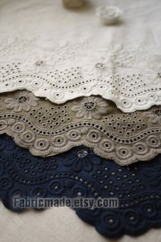 Off White Brown Navy Lace Fabric, Eyelet Border Fabric, Eyelet Embroidery Cotton Linen Lace, Scalloped Edges - 1/2 yard