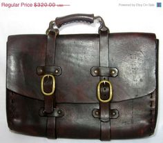 GOTHIC Vintage Leather Men's Briefcase! unique case for that special man... See more vintage at http://www.etsy.com/shop/newprairiestore