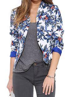 Blue Floral Print Collarless Long Sleeve Blazer