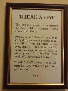 Break A Leg - acting terms