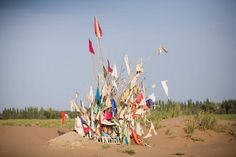 Unrevealed, Site 3 (Harvest Prayers), 2010. Markers for Sufi saints in the desert are maintained by shaykhs, who dig out the sands that would otherwise cover them over time. The number of flags on a marker correlates to a saint's power at performing miracles.