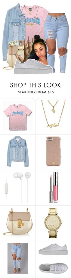 """""""5:07 PM Thrasher Contest❤"""" by littydee ❤ liked on Polyvore featuring WithChic, Gorjana, MANGO, Tory Burch, Sony, By Terry, Chloé, Michael Kors and Puma"""
