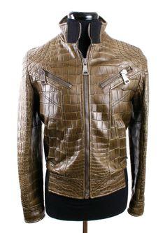 DOLCE   GABBANA Olive Green Crocodile Leather Jacket, 1 of 4 Made 7c793190db99