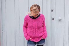 Tricot - Pull Chamaloc modèle Alice Hammer, laine Drops Alpaca Silk brushed rose cerise