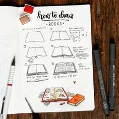 """Want to learn how to doodle in your bullet journal? These 50 doodle """"how-to""""'s to make draw and create in your bujo easy and simple to draw Doodle Bullet Journal, Doodle Art Journals, Bullet Journal Notebook, Bullet Journal Ideas Pages, Bullet Journal Inspiration, Open Book Drawing, Bullet Journal Aesthetic, Lettering, Doodles How To"""