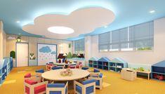 Home Decoration Design Ideas Daycare Design, Classroom Design, Kids Room Design, School Design, Kindergarten Interior, Kindergarten Design, Preschool Rooms, Daycare Rooms, Kids Church Decor