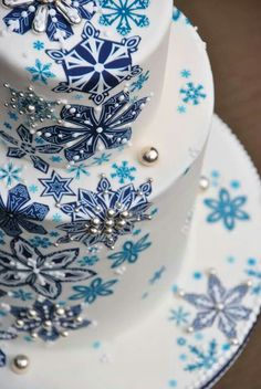 Snowflakes cake by Norman Davis -hand painted or stamping w embellishments would be unique idea