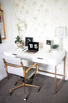 Blogger Office, White and Gold Office, Home Decor, White Office, Gold Desk Chair, PB Teen, Ikea Desk Hack, Gold Peony Wallpaper, MACBook Pro, Gold Macbook, Gold Home Decor, White and Gold Home Decor