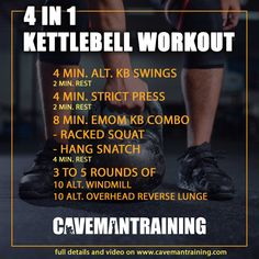 4 in 1 Kettlebell Workout—kettlebell workout full body a 4 phase kettlebell workout designed to incorporate aerobic, anaerobic, strength, and flexibility. Full Body Kettlebell Workout, 300 Workout, Kettlebell Deadlift, Kettlebell Training, Kettlebell Swings, 30 Minute Workout, Boxing Workout, Flexibility Workout, Strength Workout