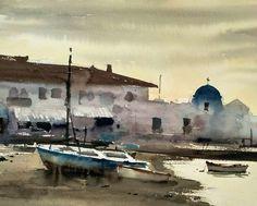 Watercolor Artists, Watercolour, Watercolor Paintings, Guache, Land Scape, Bella, Ideas Para, Boats, Pastel