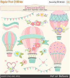 ON SALE Hot Air Balloons clip art hot air by Decorartistclipart