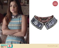 Aria's crystal embellished collar on Pretty Little Liars. Outfit Details: http://wornontv.net/26384 #PLL #fashion