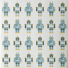 Ferm Living Robots Wallpaper for Kids Robot Wallpaper, Boys Wallpaper, Nursery Wallpaper, Eclectic Wallpaper, Modern Wallpaper, Designer Wallpaper, Robots For Kids, Camo Colors, Modern Kids