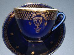 Lomonosov Cobalt Blue and Gold Leaf Cup and Saucer Russian Porcelain | eBay